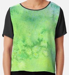 In My Garden Watercolor Texture  Chiffon Top Watercolor Circles, Watercolor Texture, Watercolor Pattern, Abstract Watercolor, Yellow Art, Green Art, Mermaid Art, Conceptual Art, Wearable Art