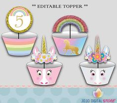 Editable Unicorn Cupcake topper & Cupcake wrapper set for