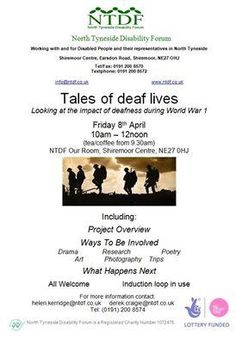 Our partner, North Tyneside Disability Forum, are currently developing a project about the lives of deaf during people during WW1