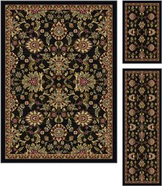 Enhance the beauty of your home with the classic pattern of this three piece rug set. This attractive set of rugs has a traditional floral pattern in vibrant shades of red, green, beige, and tan on a textured charcoal gray background. It has a delicately detailed border in brown, beige, red and green. The timeless styling of this rug allows it to fit into any decor and brings a stunning touch of sophistication to your room.