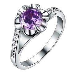 Silver Plated Purple Flower Cubic Zirconia Ring Varius Sizes
