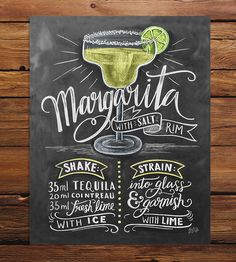 Margarita Recipe Chalkboard Art Print | This chalkboard art print isn't just adorable—it's instruction... | Posters