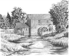 Sketch Book mill sketch - Water Mill Pencil Sketch by Craig Cassell, a quadraplegic artist who draws with his mouth. Nature Sketches Pencil, Landscape Pencil Drawings, Pencil Art Drawings, Art Drawings Sketches, Barn Drawing, House Drawing, Line Drawing, Painting & Drawing, Black And White Art Drawing