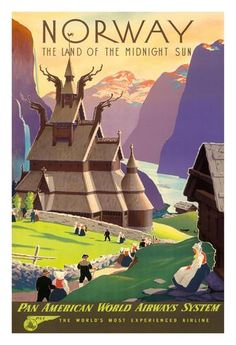Norway, The Land of the Midnight Sun - Stave Church - Pan American World Airways System (PAA) Giclee Print by Ivar Gull at AllPosters.com