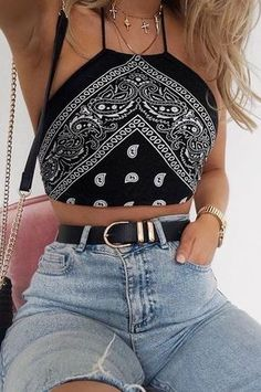 #summer #outfits / Pattern Print Halter Top + Ripped Jeans