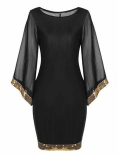 Sleeve Sequined Trim Cocktail Bodycon Pencil Party Dress - Women's style: Patterns of sustainability Cheap Dresses, Elegant Dresses, Cute Dresses, Short Dresses, Party Dresses, Mode Outfits, Dress Outfits, Fashion Outfits, Photoshoot Dresses