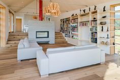 Modern Wooden House by Biro Gasperic, Velesovo, Slovenia Living Room Lounge, Living Spaces, Modern Wooden House, Small Staircase, Interior Architecture, Interior Design, Cafe House, Bookcase Shelves, Shelving