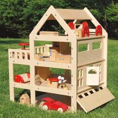 4-story wooden doll house