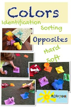 Homeschool / preschool: Color identification and sorting activity. Child learns color and opposites. (Soft / hard). Sensory and interactive learning perfect for ages 2 - 4     For more activities for a 2 year old follow:   www.facebook.com/mylittlesonbeam Mylittlesonbeam.blogspot.com