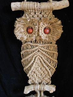 Vintage macrame owl