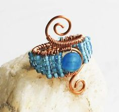 Blue Mosaic Seed Bead Wire Wrap Adjustable Handmade Woven Cocktail Spiral Ring