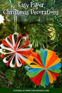 If you are looking for homemade Christmas decorations for the home these look good on a mantle or the tree. Plus they're a great easy DIY Christmas decorations for kids to try! decorations for kids Beautiful Paper Christmas Decorations Christmas Tree Decorations For Kids, Diy Christmas Ornaments, Xmas Crafts, Simple Christmas, Handmade Christmas, Paper Ornaments, Christmas Crafts For Kids To Make At School, Homemade Gifts For Christmas, Christmas Tree Decorations To Make
