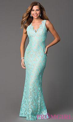 Floor Length Lace V-Neck Dress at PromGirl.com