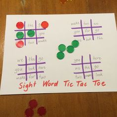 Word Tic Tac Toe - so easy to make this game and great sight word practice! Fun Games 4 Learning: Sight Word GamesSight Word Tic Tac Toe - so easy to make this game and great sight word practice! Teaching Sight Words, Sight Word Practice, Sight Word Activities, Phonics Activities, Kindergarten Activities, Preschool, Kindergarten Sight Word Games, Literacy Games, Spelling Word Games