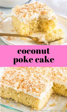 This coconut poke cake is easy to make and turns out soft, moist, and packed with coconut flavor every time. If you're a coconut fan you'll love this delicious treat! This recipe starts with a box of white or yellow cake mix and is topped with whipped cream frosting. It's fantastic! Vegan Coconut Cake, Chocolate Coconut Macaroons, Coconut Poke Cakes, Lemon And Coconut Cake, Coconut Cookies, Coconut Recipes, Make Ahead Desserts, Easy Desserts, Delicious Desserts