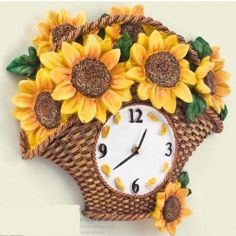 Sunflower Kitchen Wall Clocks For Beautifully Sunny Home Decor | My  Sunflower Obsession. | Pinterest | Sunflower Kitchen, Kitchen Wall Clocks  And Kitchen ...
