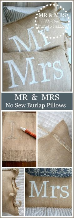 MR AND MRS NO SEW BURLAP PILLOWS-insanely easy and so cute-stonegableblog. & How to make the easiest pillows ever! Love this no-sew pillow ... pillowsntoast.com