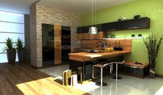 black wood green kitchen