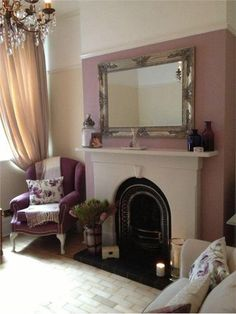 An inspirational image from Farrow and Ball A beautifully room we designed with relaxation in mind, using the beautiful tones of cinder rose and new white and fire surround in skimming stone and it looks amazing Farrow And Ball Living Room, Living Room Paint, Living Room Grey, Living Room Decor, Style At Home, Cinder Rose Farrow And Ball, Chimney Decor, Rose Bedroom, Inglenook Fireplace