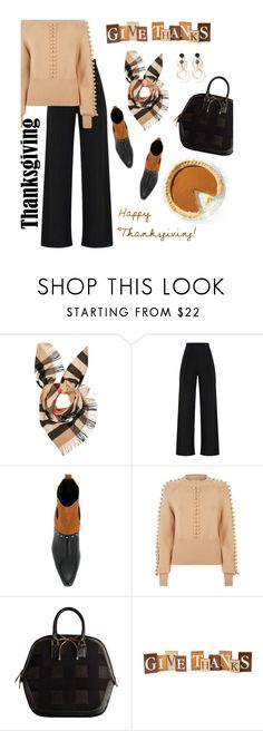 """Happy Thanksgiving Polyfriends"" by youaresofashion ❤ liked on Polyvore featuring Burberry, Balmain and Chloé"