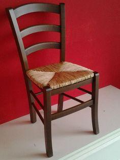 Sedia Arte Povera, qualità Top, Diverse sedute e colorazioni, Ordine Minimo 2 Pezzi (Noce, Imbottita Beige)