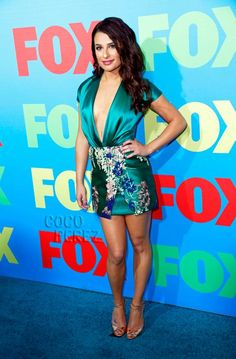 Lea Michele Pulls A Risky Move And Almost Flashes The Paparazzi On The Fox Fanfront Red Carpet!