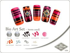 Nordic stripes art set Nail Polish Designs, Gel Nail Polish, Nail Designs, Bio Sculpture Gel, Sculpture Art, Usa Nails, Bio Art, Gold Bullion, Stone Gold