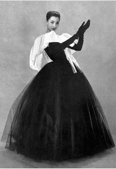 Renee Breton in black silk tulle & white organdy outfit by Christian Dior, photograph by Georges Saad 1956.