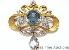 Gem Quality Aquamarine Diamond 14k Gold Platinum 1890s Art Nouveau Pin Pendant