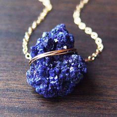ON SALE Moroccan Azurite Gold Necklace, Navy Blue