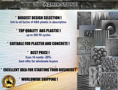 Plastic mold for gypsum and concrete Panel Form for making plaster decor panel plastic mold mould for decorative wall panels DIY Wall Panel Molding, Diy Molding, Gypse, Concrete Forms, Concrete Casting, Stone Molds, Decorative Wall Panels, 3d Wall Panels, Plastic Molds