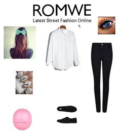 """""""ROMWE"""" by susanna-487 ❤ liked on Polyvore featuring Giorgio Armani, Essie, Vans and River Island"""