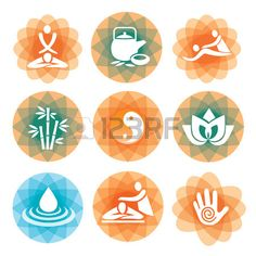 Set of massage, yoga and spa icons on the colorful abstract background   Vector illustration  Stock Vector