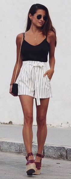 #summer #outfits  Black Tank   White Striped Short   Brown Wedge