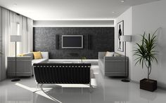 Furniture,Romantic Black White Themed Tv Wall Panel Design Ideas With Wonderful Double Sofa And Amazing Great Window On Combined Soft White Curtains Also Modern Stand Lamps Plus Luxurious White Ceramic Floor ,Modern Tv Wall Panel Designs