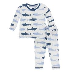 KicKee Pants Little Boys Print Long Sleeve Pajama Set, Natural Megalodon Cute Outfits For Kids, Toddler Outfits, Boys Sleepwear, Megalodon, Long Sleeve Pyjamas, Pj Sets, Baby Boutique, Pajama Set, Toddler Boys