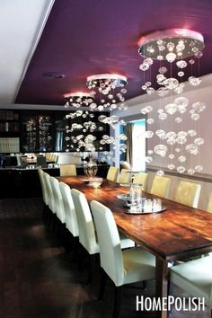 Bubble lights for an extravagant dining room.