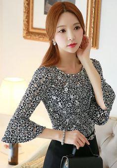 StyleOnme_Flared Sleeve Lace Blouse #lace #black #blouse #bellsleeve #flared #elegant #feminine #girly #classy #koreanfashion #seoul #trend