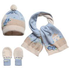 Mayoral Baby Girls Blue Floral Hat, Scarf, Mittens Set at Childrensalon.com
