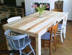 Diy dinning table pallet dinner table pallet dining table pallet furniture diy farmhouse dining table with Diy Dining Room Table, Pallet Dining Table, Furniture Dining Table, Diy Pallet Furniture, Modern Dining Table, Diy Table, Dining Rooms, Furniture Ideas, Dining Chairs