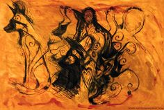Cave painting, oil on canvas, dogs, wild dogs, prehistoric, archaeology, animals, wildlife, art, drawing