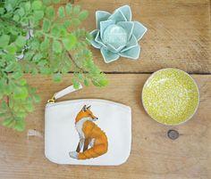 Fox Coin Purse Change Purse Coin Pouch Zip Pouch Canvas Purse Organic Purse Small Zipper Pouch Fox Gift by ceridwenDESIGNby Ceridwen Hazelchild Design