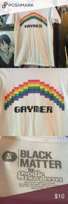 """Gaymer"" Nerdy Pride Shirt 🌈 Super cute graphic tee. Show your pride or support the LGBTQ community while flaunting your gamer status ❤️ In great condition, worn a few times and has slight piling due to the super soft cotton fabric. Fits a little oversized due to men's sizing. By Black Matter. Wrinkled from months of sitting in my closet ☁️️ UNIF Tops Tees - Short Sleeve"
