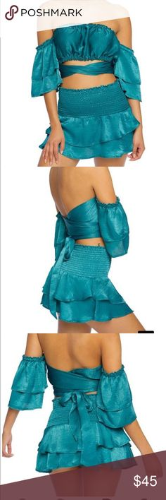 2-PC Satin Off Shoulder Skirt Set Sexy 2-PC Satin Skirt Set Off shoulder!! 2 pieces Color: Blue candlesfashionhouse Skirts Skirt Sets