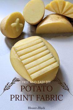 Potato Stamp, Potato Print, Fun Crafts, Crafts For Kids, Fabric Stamping, Stencil, Dollar Store Crafts, Diy Stuffed Animals, Fabric Painting