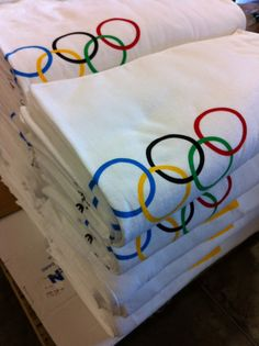 Gold Medal printing of an order of 300 oversize towels for a client.  www.visualimp.com