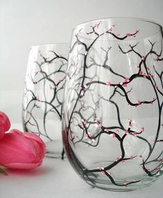 Image of Spring Cherry Blossom Stemless Wine Glasses-Set of 2