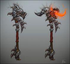 Warlords of Draenor - Weapon Concept , Kelvin Tan on ArtStation at http://www.artstation.com/artwork/warlords-of-draenor-weapon-concept