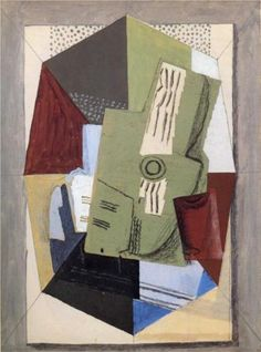 Georges Braque (1882 - 1963) | Synthetic Cubism | Guitar and Sheet Music on Table - 1918
