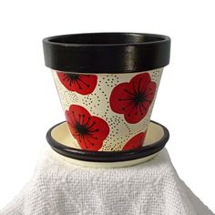 Hand Painted Pot With Whimsical Poppy Design in  Black and Red - ready to ship - 4-inch. $17.00, via Etsy.